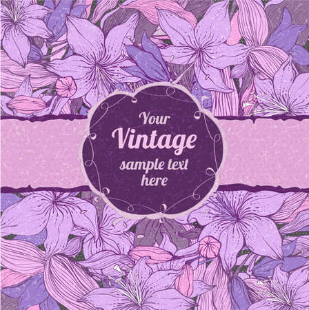 Stylish floral background with frame. Element for design. Vintage vector illustration. Lily pattern with scratch effect. Shabby chic Vector
