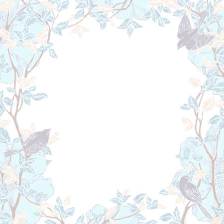 Decorative frame with trees, flowers and birds. Natural ornament. Vintage pattern. Vector illustration. Vector
