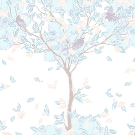 Decorative background with trees, flowers and birds. Vintage pattern. Vector illustration. Vector