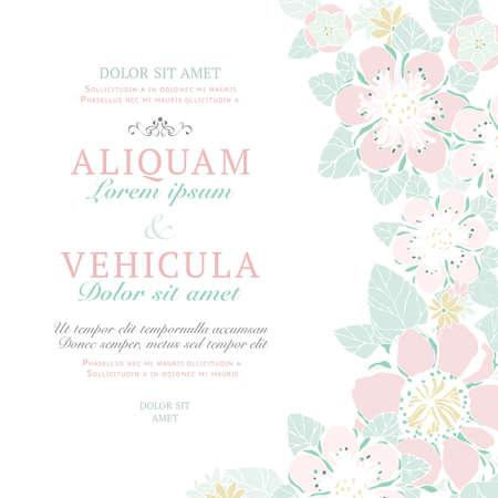 結婚式のカードや花の抽象的な背景の招待状。ビンテージ スタイルを描いたポストカードを手で挨拶します。レトロなベクトル イラスト。花と優雅