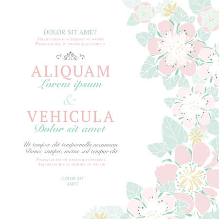 Wedding card or invitation with abstract floral background. Greeting postcard in hand painted vintage style. Retro vector illustration. Elegance pattern with flowers.