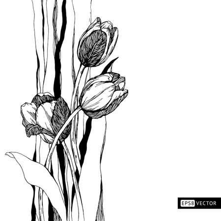 Decorative frame tulips. Hand drawn natural ornament. Vintage pattern. Vector illustration. Illustration