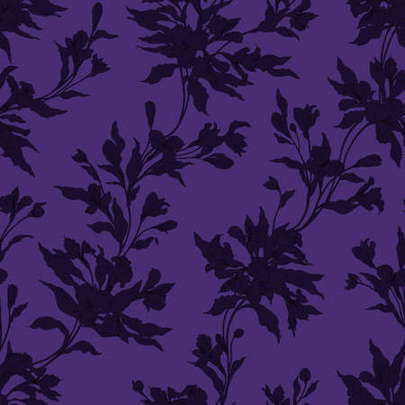 Stylish vintage floral seamless pattern with lily flowers. Vector