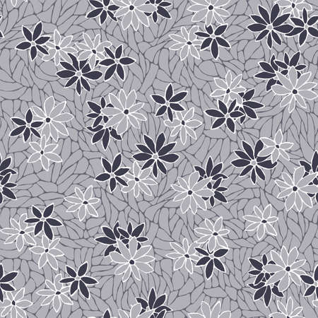 Seamless pattern with decorative flowers and lace texture. Vintage wallpaper. Illustration