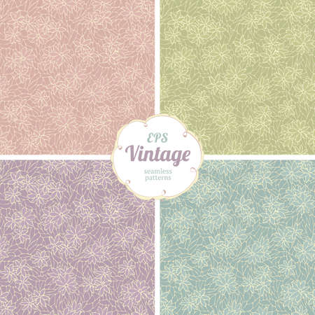 Seamless pattern with decorative flowers and lace texture. Vintage wallpaper. Vector
