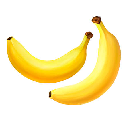separate: Raster version of Banana fruit. Isolated on white background. Realistic digital paint. Stock Photo