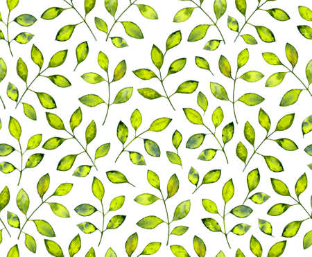 Seamless pattern with abstract watercolor leaves