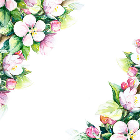 Background with decorative flowers. Vintage card. Natural ornament. Hand drawn, watercolor on paper.