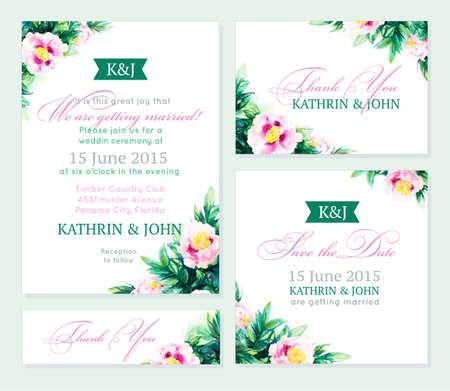 招待状結婚式のセットです。ロマンチックなカード。ベクトル牡丹と水彩 backround。ビジネス カードのテンプレートとして使用することができます。  イラスト・ベクター素材