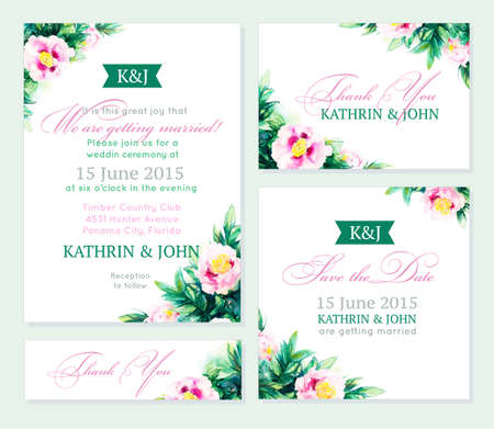 Invitation wedding set. Romantic cards. Vector watercolor backround with peony. Can be used as business card template Иллюстрация