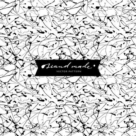 handwrite: Seamless abstract pattern. Hand drawn, drip painting.