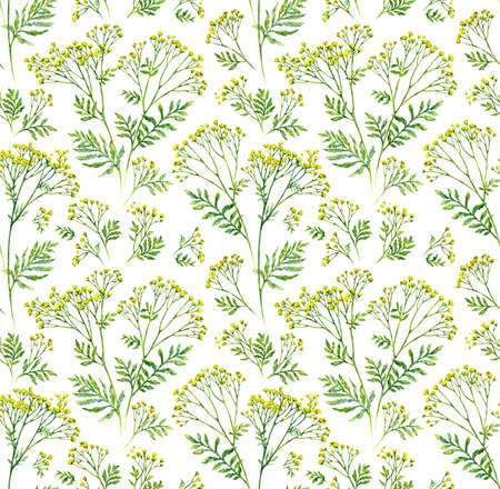 Seamless flower with leaf pattern background, botanical illustration. Watercolor painting. Фото со стока
