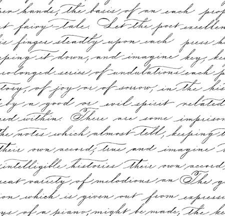 Nahtloses Muster mit Handschriftstext. Kalligraphie. Texthintergrund. Spencerianischer Stil. Vektorgrafik
