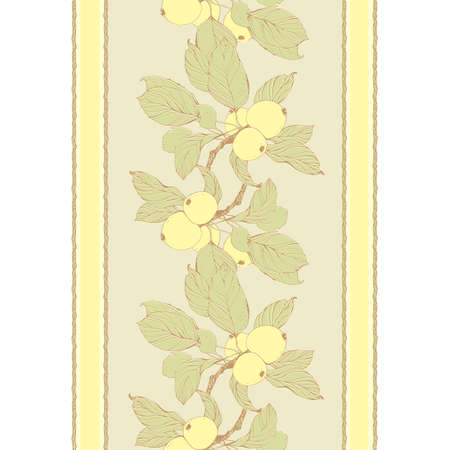 japanese motif: Seamless pattern with apple tree branch