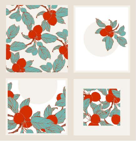 japanese motif: Iinvitation set, includes seamless pattern.