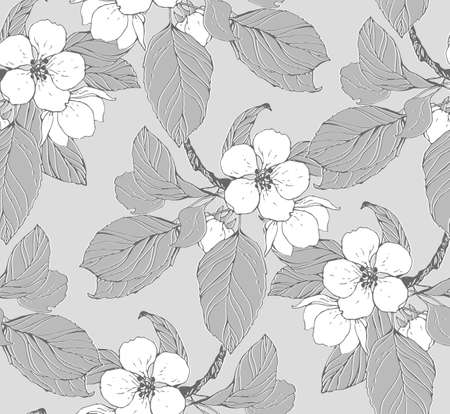 japanese motif: Seamless pattern with blossom branch