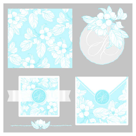 Iinvitation set, includes seamless pattern. Vector