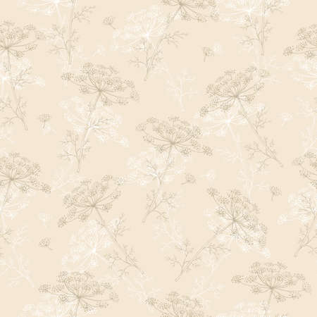 Seamless pattern with blossom dill