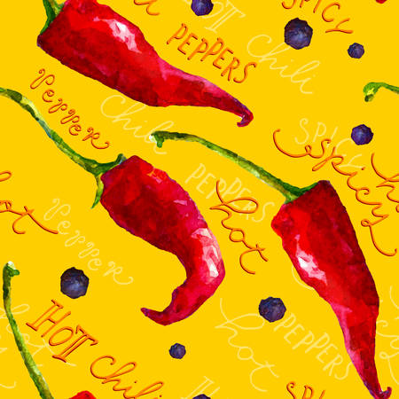 written text: Seamless pattern with watercolor red chili peppers and hand written text Illustration