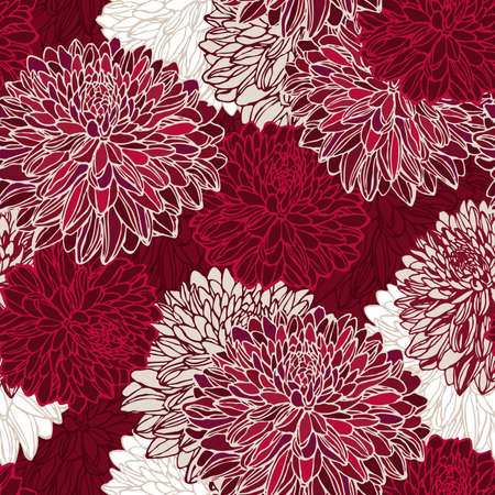 chrysanthemums: Seamless pattern with decorative flowers