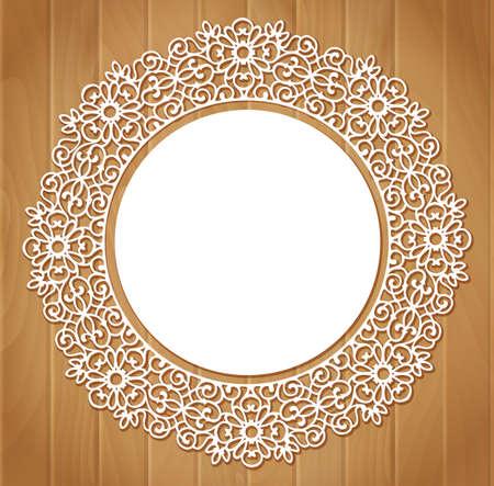 encaje: Patr�n de encaje redondo ornamental sobre fondo de madera Vectores