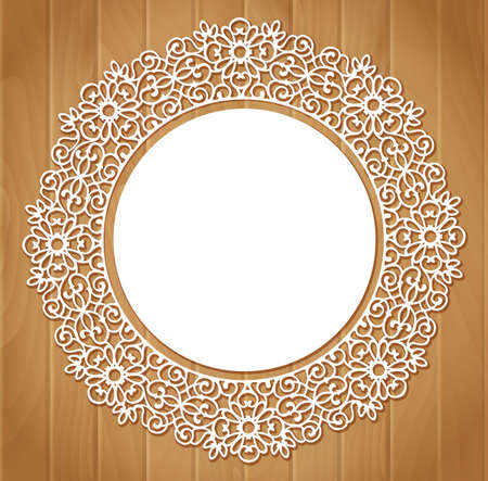 Ornamental round lace pattern on wood background