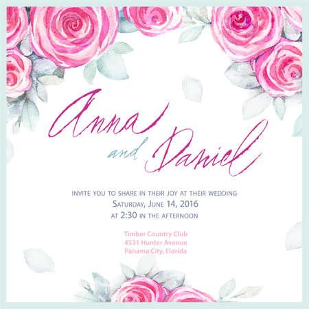 招待状結婚式のデザイン。ロマンチックなグリーティング カード。ベクトル水彩 backround のバラを使用。
