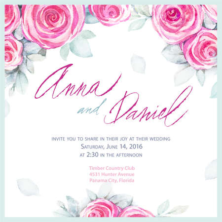 text pink: Invitation wedding design. Romantic greeting cards. Vector watercolor backround with roses.