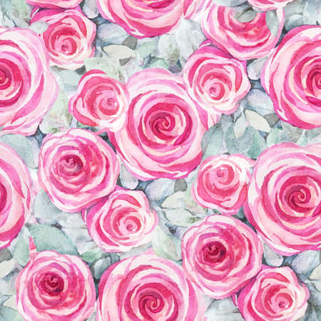 Seamless pattern with decorative watercolor roses. Vintage wallpaper. Natural ornament. Hand drawn painting. Иллюстрация