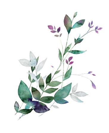 花の水彩画。繊維、布、お土産、包装、グリーティング カードやスクラップブッ キングの要素をデザインします。手描きの装飾的なボタニカル プ 写真素材