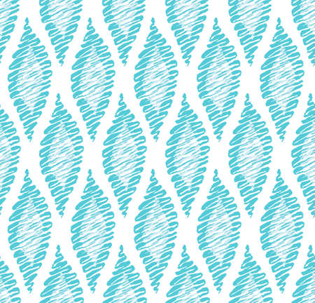 Vector seamless pattern with abstract hand drawn ethnic and tribal motifs. Geometric background can be used in interior fashion, package design, web, prints. Simple and expressive style. Hand drawn motifs in delicate blue colors. Stock Photo