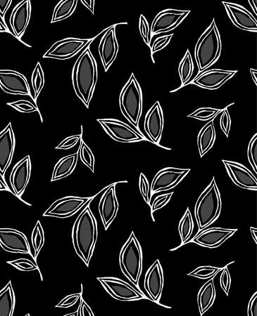 graphically: Vector seamless pattern with leaves. Floral background can be used in interior and fashion design. Simple and graphically modern style. Hand drawn motifs in black and white colors. Stock Photo