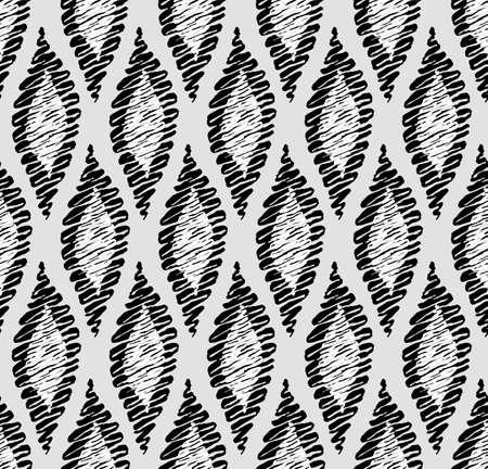 Vector naadloze patroon met abstracte hand getekende etnische en tribale motieven. Geometrische achtergrond kan worden gebruikt in het interieur en mode-ontwerp. Eenvoudig en expressieve stijl. Hand getrokken motieven in zwart en wit kleuren.