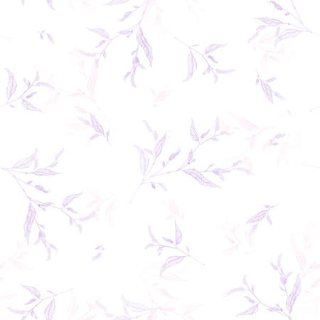 graphically: Vector seamless pattern with leaves. Floral background can be used in interior fashion, package design, web, prints. Simple and graphically modern style. Hand drawn motifs in in delicate violet colors.