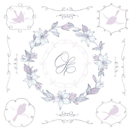 borders plants: Vector flolar wreath, ending elements and frames. Hand drawn flowers and birds and branches. Calligraphic motifs. Weddding invitation decor.