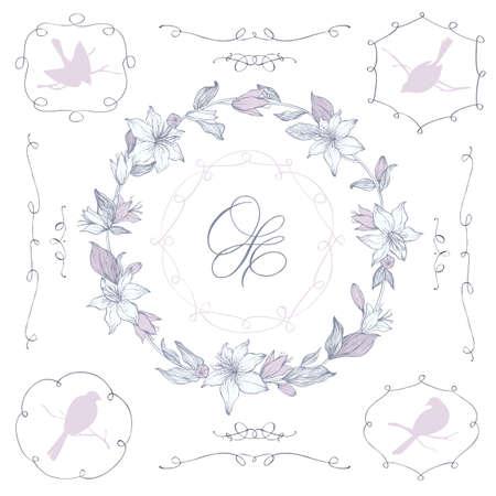Vectorial Corona flolar, elementos y marcos de finalización. Dé las flores y los pájaros y ramas. motivos caligráficos. Weddding decoración invitación.