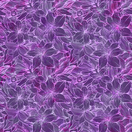 Seamles decorative pattern with lily flowers. Floral background.