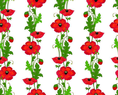 Seamless elegant pattern with decorative poppies. Фото со стока - 112141669