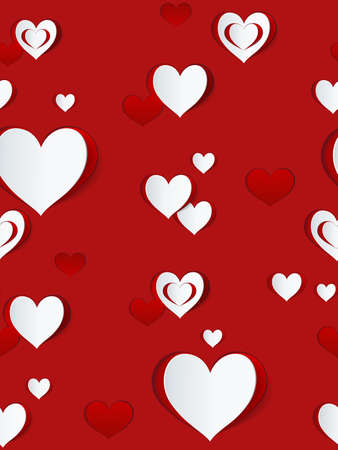 Valentines day seamless pattern. Abstract paper hearts. Love background.