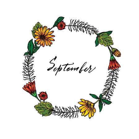 Vector background, september lettering Иллюстрация