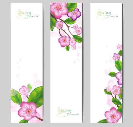 Vector banner with blossom branches