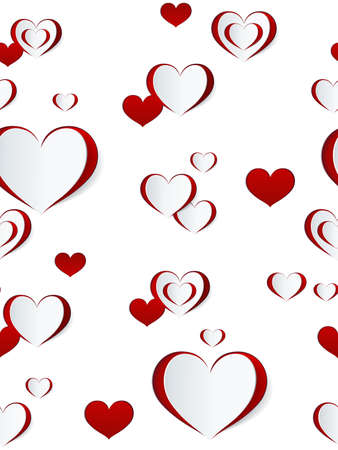 Valentines day seamless pattern. Abstract paper hearts. Love background. Фото со стока - 112141677