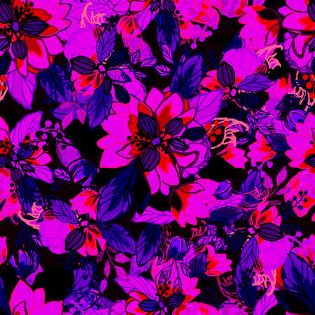 Floral background. Seamless wallpaper. Иллюстрация