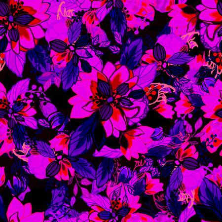 Floral background. Seamless wallpaper. Фото со стока - 112141681