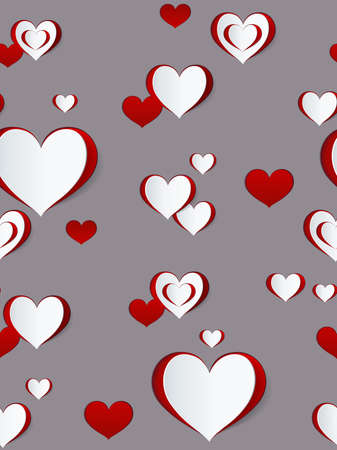Valentines day seamless pattern. Abstract paper hearts. Love background. Фото со стока - 112141684