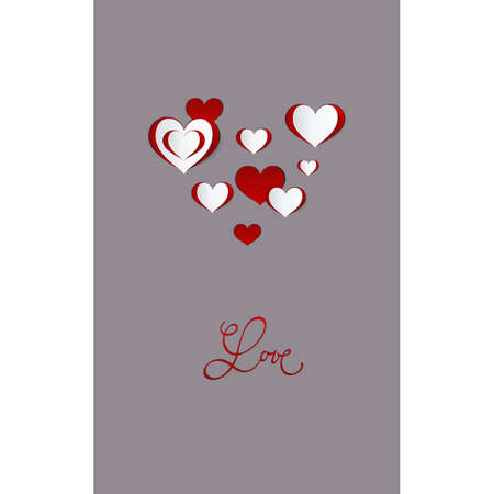 Valentines day card. Abstract paper hearts. Love background. Фото со стока - 112141686