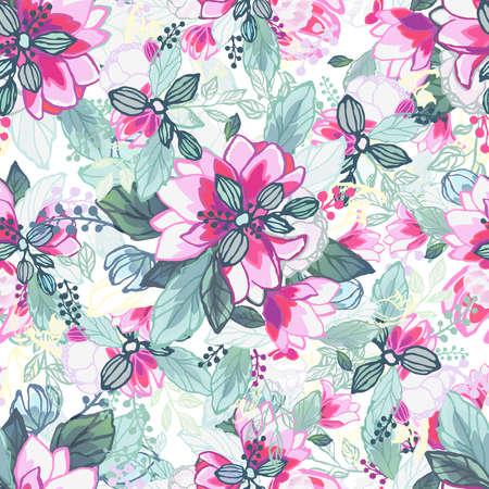 Floral background. Seamless wallpaper. Фото со стока - 112141690