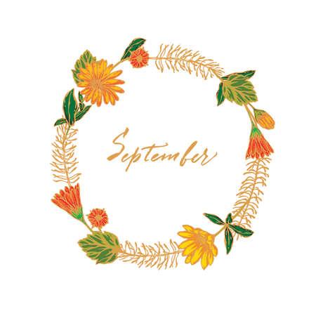 Vector background, september lettering Ilustracja