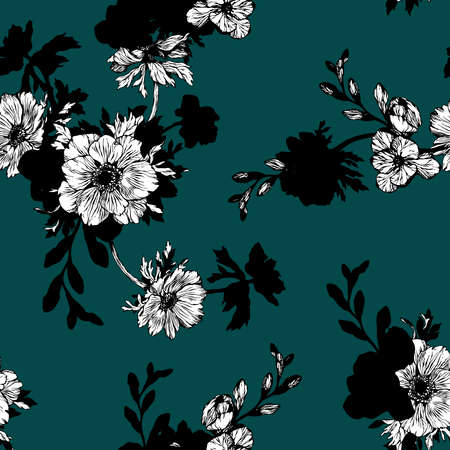 Floral background based on ink graphic. Texture for textiles, fabrics, souvenirs, packaging, greeting cards and scrapbooking. Hand drawn seamless vector pattern.