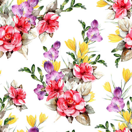 Floral background based on  painting. Texture for textiles, fabrics, souvenirs, packaging, greeting cards and scrapbooking. Фото со стока - 112474855